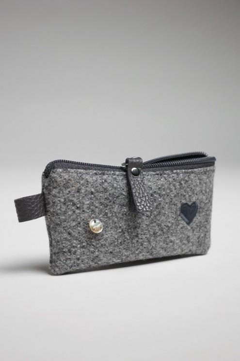 Mini-Tasche für Geld, Taschentücher-Tasche, Schlüsseltasche aus Loden mit Leder Detail, Filz