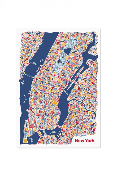 New York Landkarte, New York Poster, Grafik Poster, Vianina