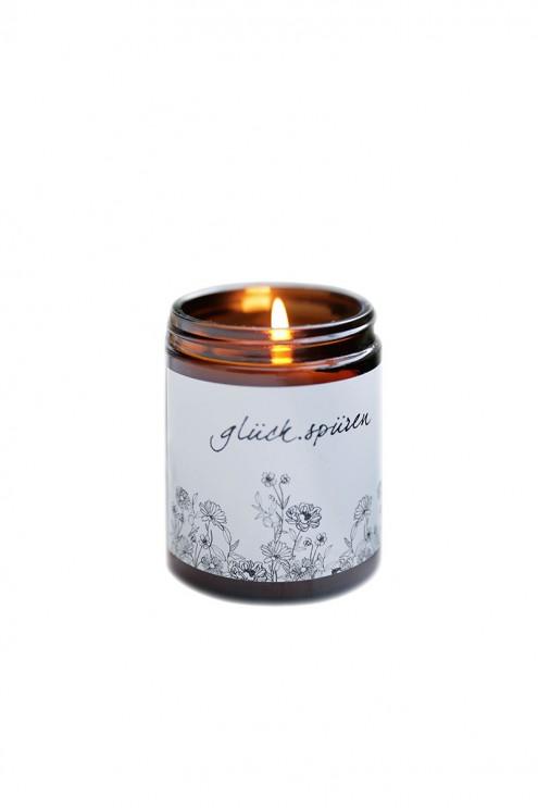 Kerze mit Mantra, Glückskerze, biologisches Bienenwachs, Bio, Kerze im Glas
