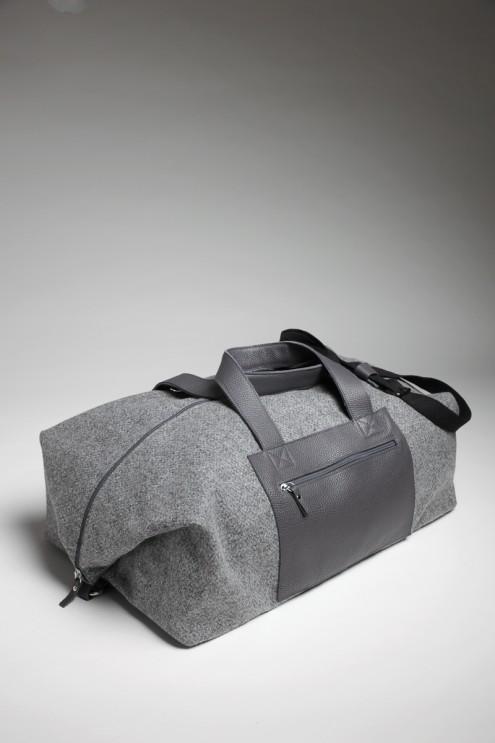 edler Weekender aus Loden und Leder, Reisetasche aus Stoff