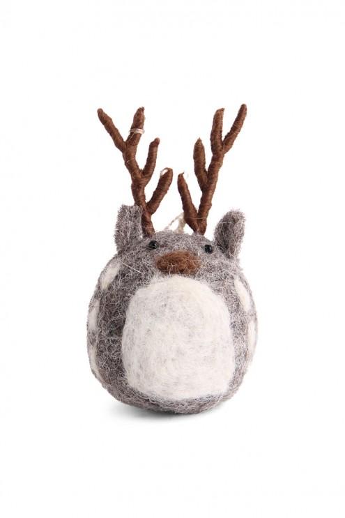 Handgefilzte Deko, Rentier aus Filz, Anhänger für Weihnachten, Christbaumschmuck, Deko-Anhänger für den Weihnachtsbaum