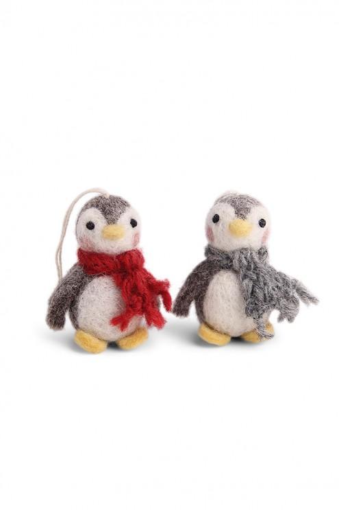Handgefilzte Deko-Anhänger, nachhaltige Dekoration für Weihnachten, Pinguine aus Filz, Anhänger für den Christbaum natürlich