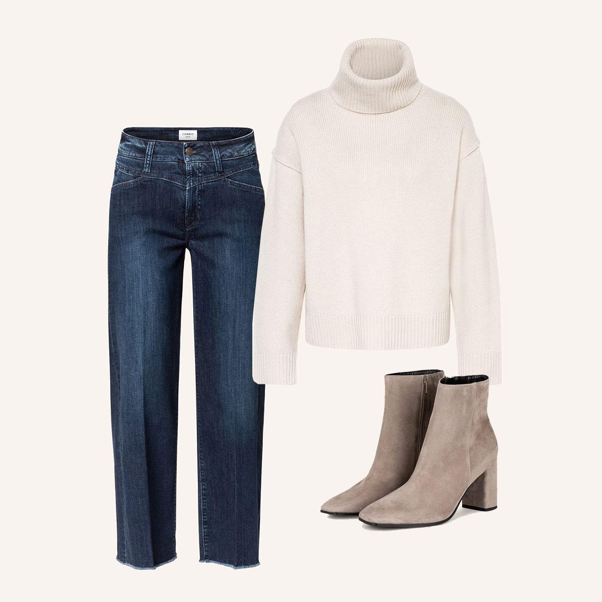 Herbstmode, Inspiration für den Herbst-Look, Jeans und Pulli, Stiefeletten beige, Casual Outfit für die Arbeit