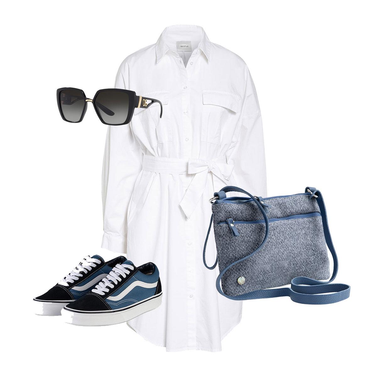Outfit Inspiration, Hemdblusenkleid weiß, Sneakers zum Kleid, Herbstmode