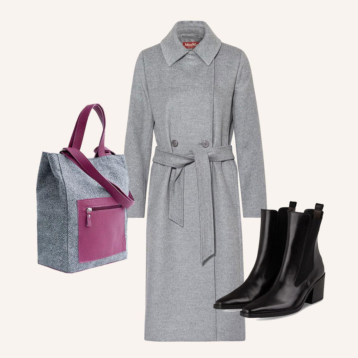 MaxMara Wollmantel, klassischer Mantel, Herbstmode, Mantel aus Wolle, schwarze Stiefeletten, Shopper aus Stoff, Stofftasche