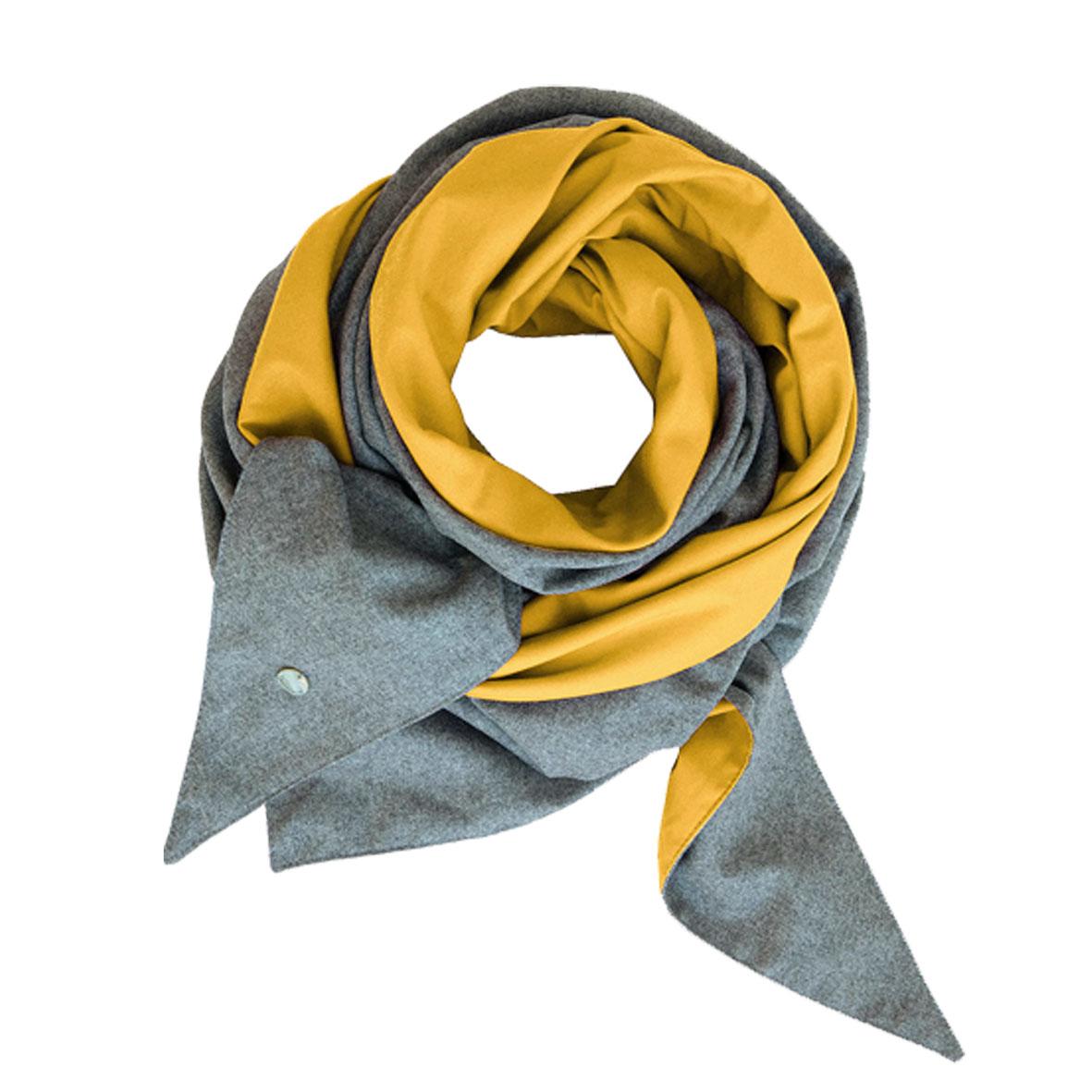 Trendfarbe Gelb, Schultertuch aus Merinowolle, Leichtes Umhängetuch für Damen, Wollschal gelb, Loden au Österreich