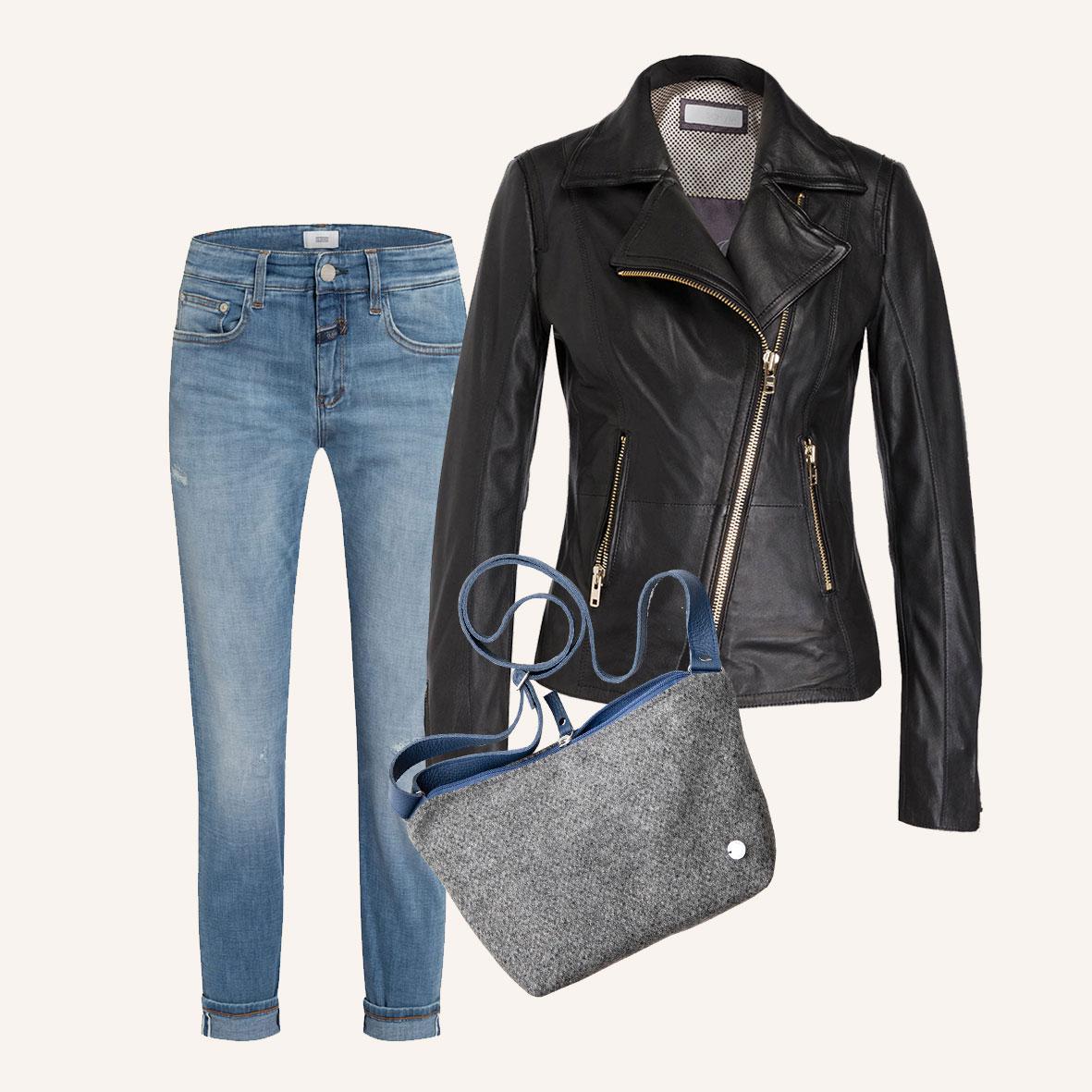 Outfits für den Herbst, Lederjacke und Jeans, lässige Lederjacke schwarz, kleine Umhängetasche aus Stoff, Crossbody-Tasche aus Merinowolle