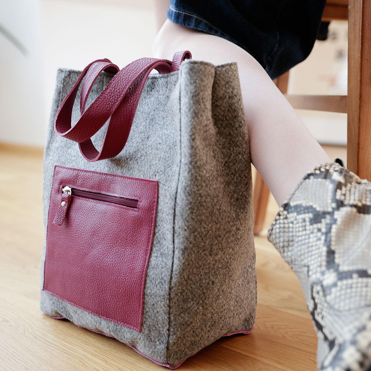 Shopper aus Stoff, Damenhandtasche leicht, Umhängetasche für Frauen, Tasche aus Loden, Stofftasche, Lässiger Shopper für Damen